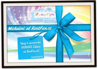 Dárkový poukaz se zábavou RentFun.cz Karaoke blue