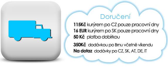 Ceny na doručení: 50 Kč/Brno, 150 Kč/ČR, 50 Kč/dobírka.