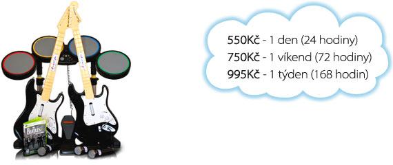 Ceny na pronájem Beatles Rock Band: 250 Kč/den, 475 Kč/víkend, 800 Kč/týden.