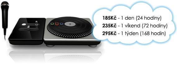 Ceny na pronájem DJ Hero: 185 Kč/den, 235 Kč/víkend, 295 Kč/týden.