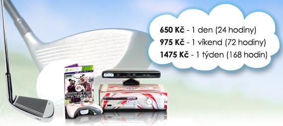 Ceny na pronájem golf simulátoru: 420 Kč/den, 820 Kč/víkend, 1190 Kč/týden.
