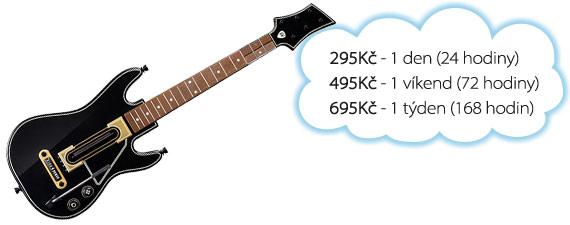 Ceny na pronájem Guitar Hero Live: 295 Kč/den, 395 Kč/víkend, 695 Kč/týden.