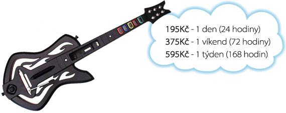 Ceny na pronájem Guitar Hero: 100 Kč/den, 175 Kč/víkend, 275 Kč/týden.