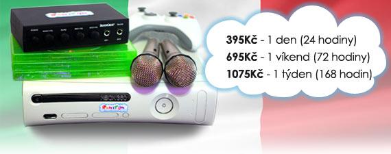 Ceny na pronájem Italského Karaoke: 395 Kč/den, 695 Kč/víkend, 1075 Kč/týden.