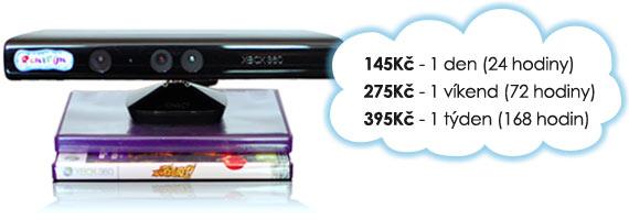 Ceny na pronájem Kinect: 145 Kč/den, 275 Kč/víkend, 395 Kč/týden.