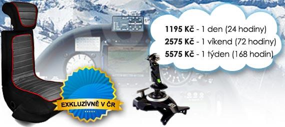 Ceny na pronájem flight simulátoru: od 820 Kč/den