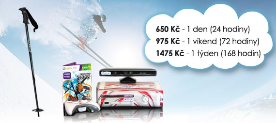 Ceny na pronájem lyžařského simulátoru: 420 Kč/den, 820 Kč/víkend, 1190 Kč/týden.