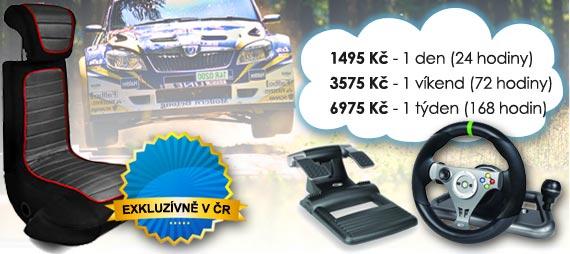 Ceny | Pronájem Rally autosimulátoru Varianta 2 - Super Zábava: 965 Kč/den, 1575 Kč/víkend, 2615 Kč/týden