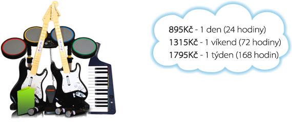 Ceny na pronájem Rock Band: 175 Kč/den, 300 Kč/víkend, 525 Kč/týden.