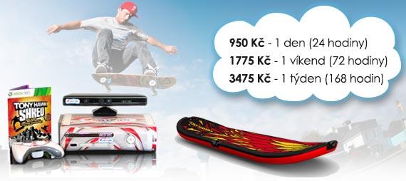 Ceny na pronájem skateboard simulátoru: 420 Kč/den, 820 Kč/víkend, 1190 Kč/týden.