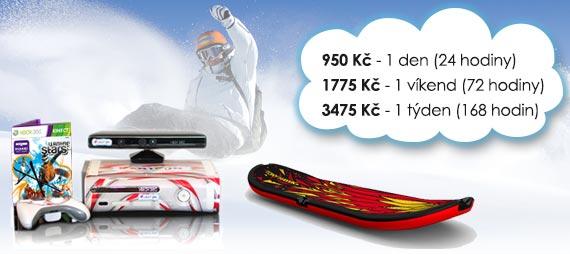 Ceny na pronájem snowboard simulátoru: 420 Kč/den, 820 Kč/víkend, 1190 Kč/týden.