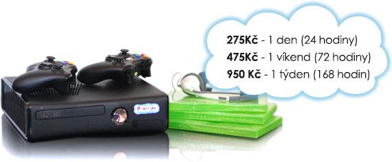 Ceny na pronájem Xbox 360: 175 Kč/den, 325 Kč/víkend, 475 Kč/týden