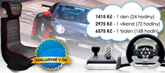 Simulátor Racing sportovních vozů Super Zábava, pronájem od 965 Kč/den, 1575 Kč/víkend, 2615 Kč/týden.