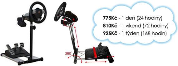 Ceny na pronájem držáku volantu a pedálů RennSport Wheel Stand V2: 775 Kč/den, 810 Kč/víkend, 925 Kč/týden