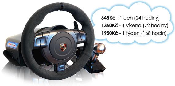 Ceny na pronájem Logitech Driving Force Pro: 2915 Kč/den, 3225 Kč/víkend, 3550 Kč/týden