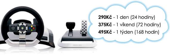 Ceny na Xbox 360 Wireless Racing Wheel: 190 Kč/den, 275 Kč/víkend, 365 Kč/týden