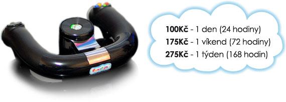 Ceny na Xbox 360 Wireless Speed Wheel: 100 Kč/den, 175 Kč/víkend, 275 Kč/týden